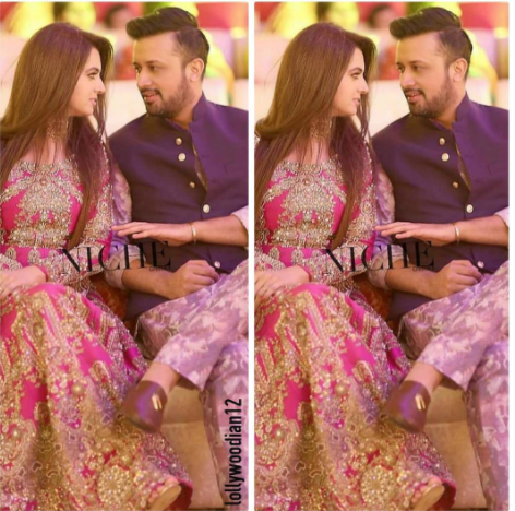 Atif Aslam with his Wife Sara Atif last night at a wedding ...