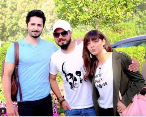 danish taimoor and sanam chaudhary on the set of their