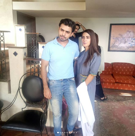 Farahn Saeed And Iqra Aziz On Set Of Their Super Hit Drama