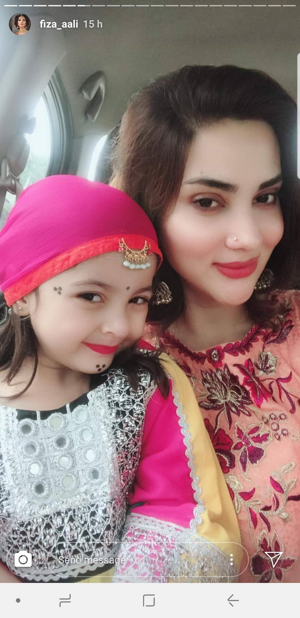 fiza ali with herbeautiful daughter faraal on eid day