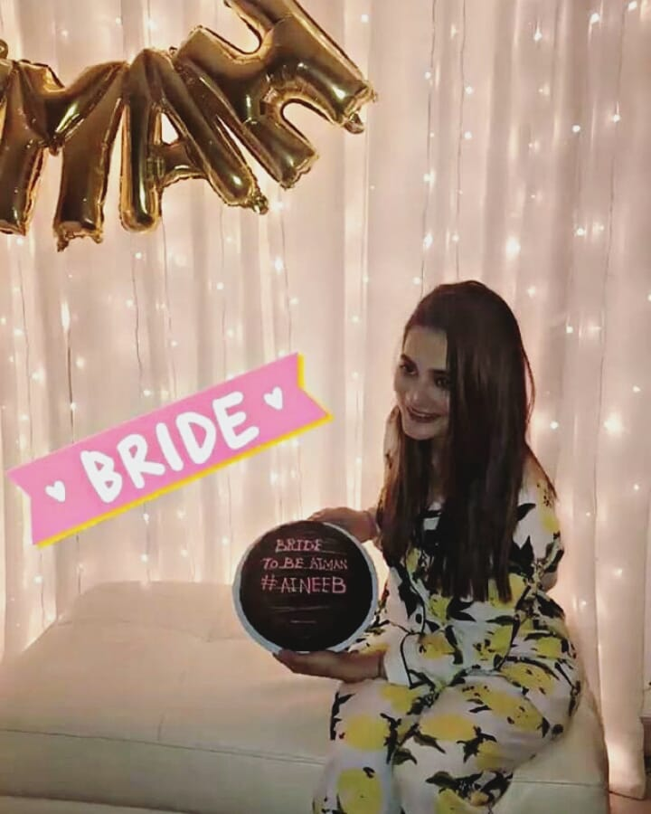 beautiful clicks of bride to be aiman khan bridal shower