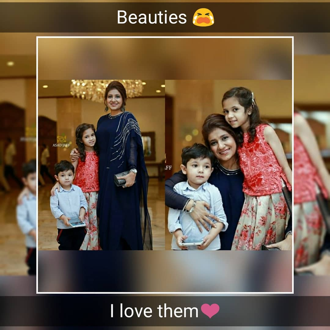 Fahad Mustafa With His Wife And Kids At A Wedding Event