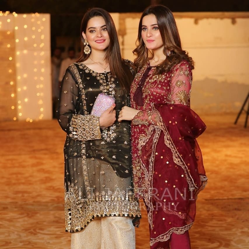 Beautiful Pictures Of Aiman Muneeb And Minal At A Wedding