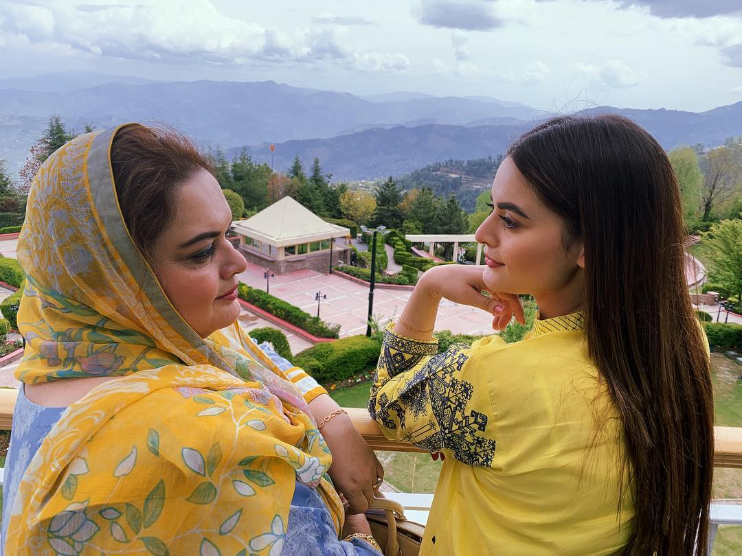 Latest Clicks Of Minal Khan With Her Mother In Muree