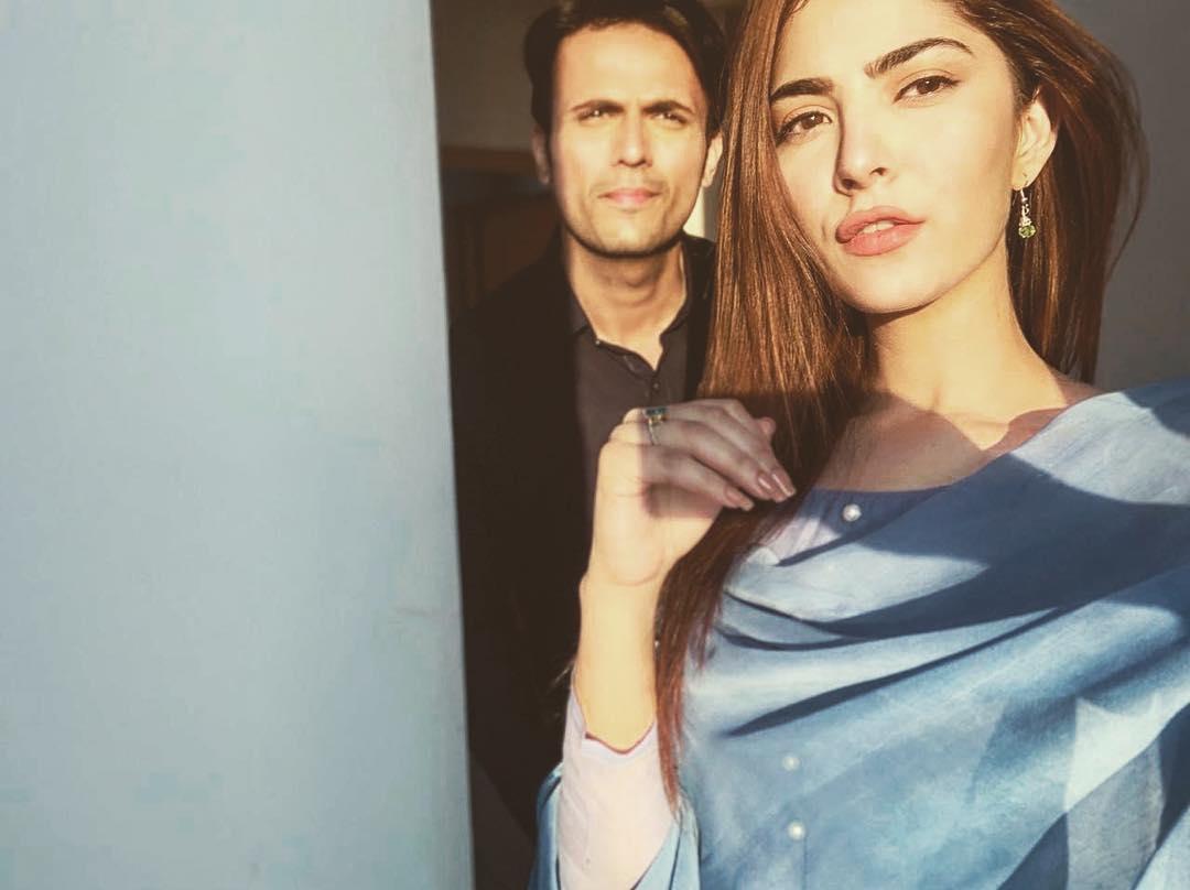 Beautiful Clicks of Usman Mukhtar and Naimal Khawar on Set